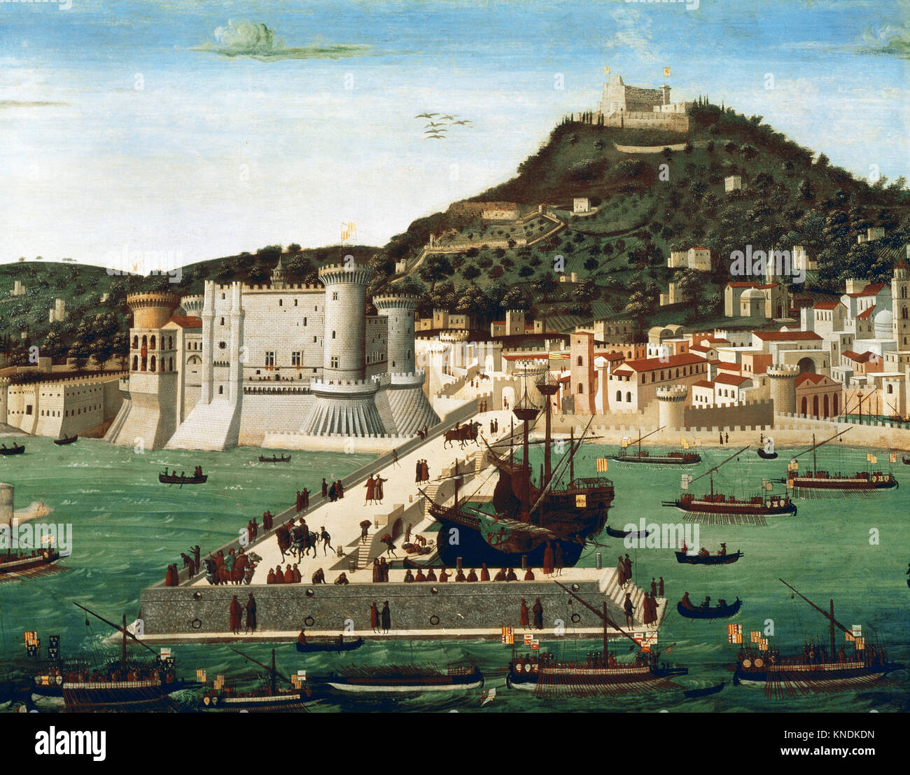 La Tavola Strozzi. View of Naples from 15th century. City and trading port. Attributed by Francesco Rosselli, 1472. - Stock Image