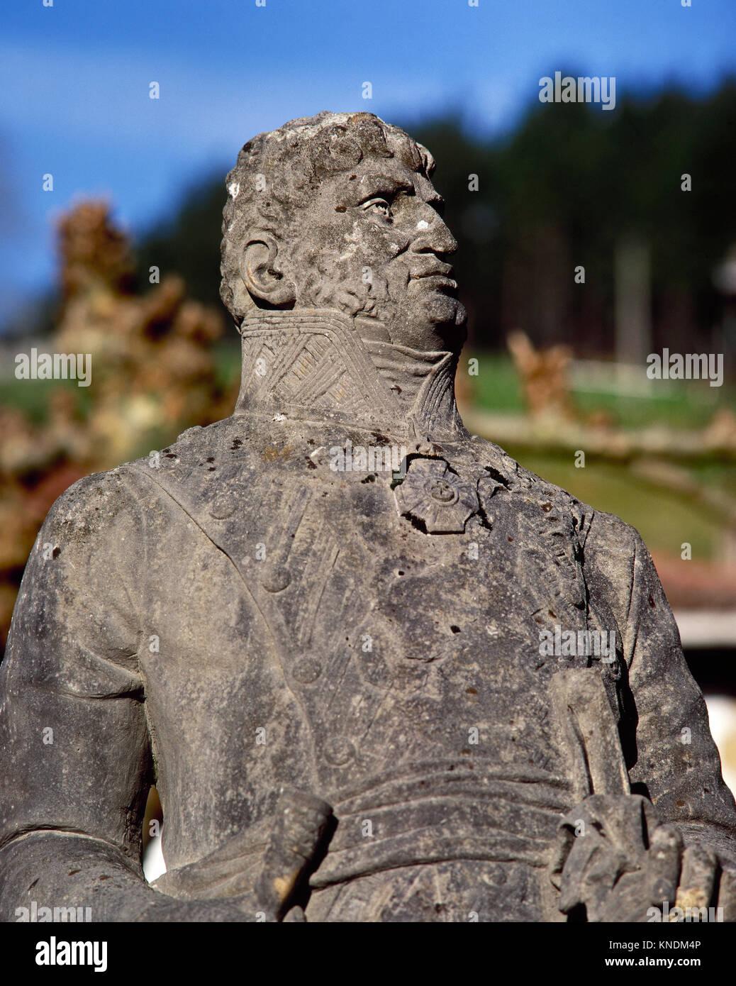 Francisco de Longa y Anchía (1783-1831). Spanish guerrilla  during the Peninsular War. Statue. Bolibar. Basque - Stock Image