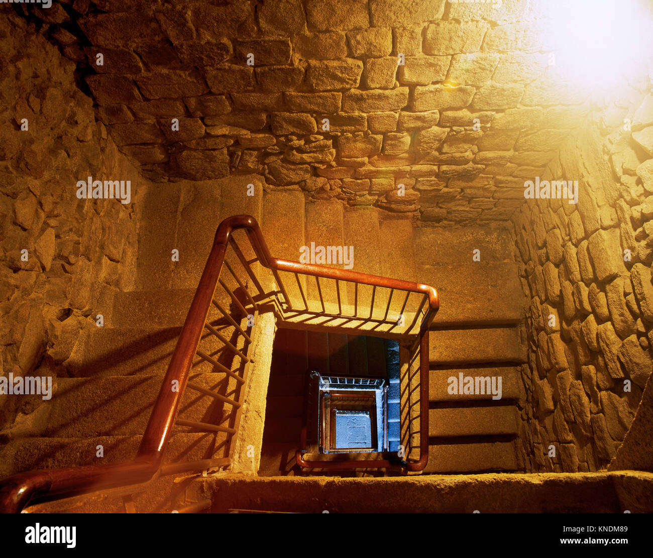 Tower of Hercules. 2nd century AD. Ancient Roman lighthouse. Restored in 1791 by Eustaqui Giannini. Interior. A - Stock Image