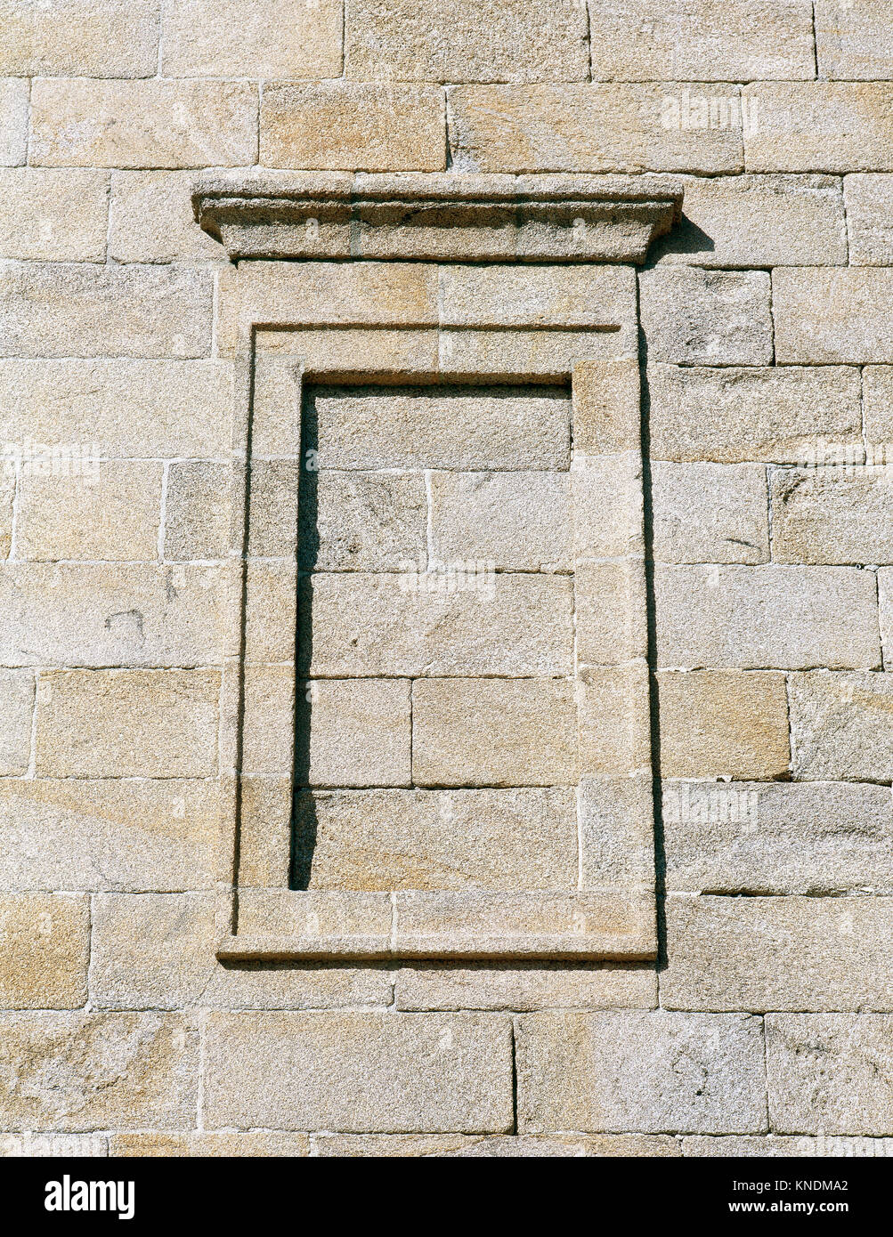 Tower of Hercules. 2nd century AD. Ancient Roman lighthouse. Restored in 1791 by Eustaqui Giannini. Detail window. - Stock Image