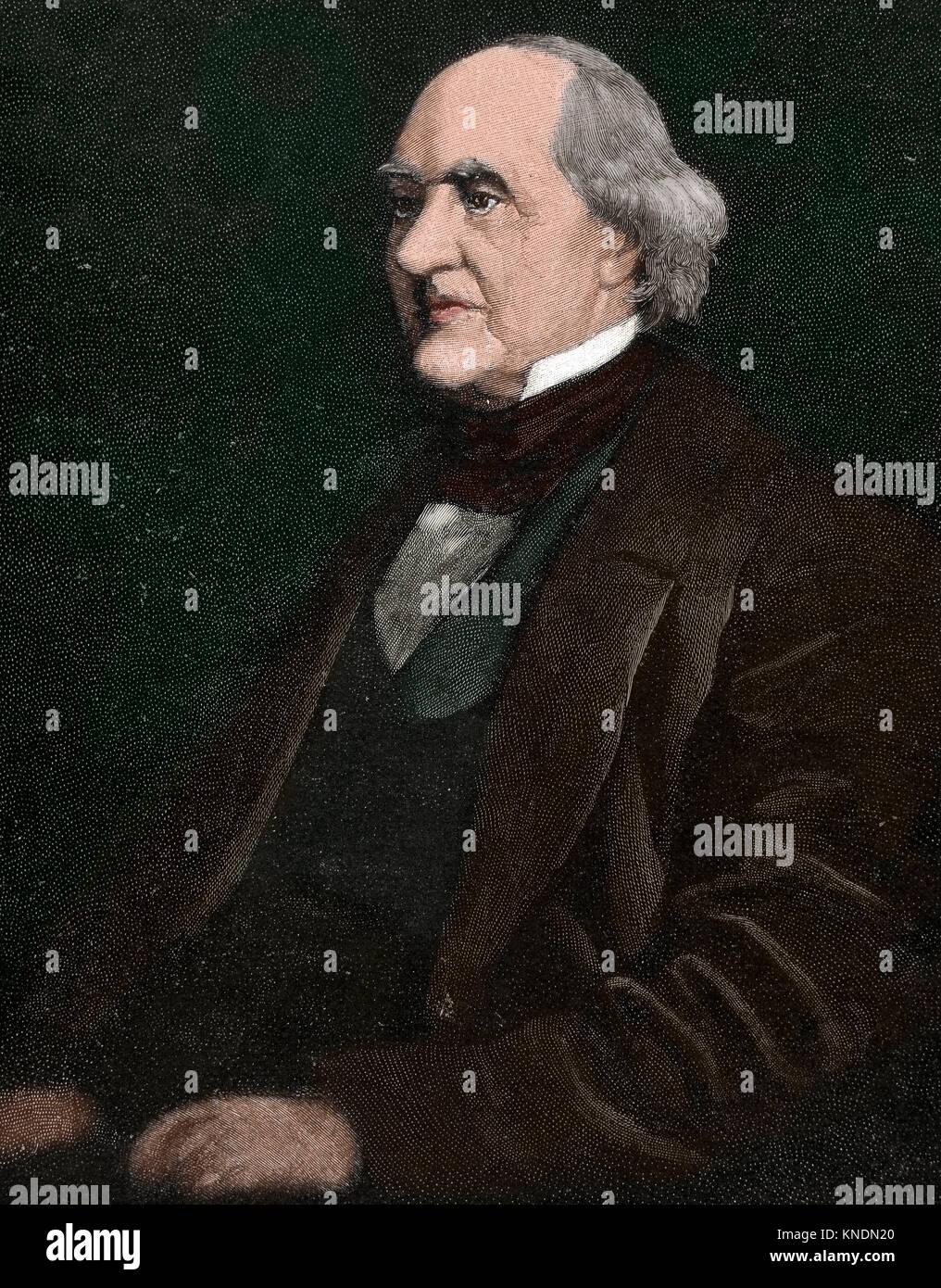 George Peabody (1795-1869). American-British financier and philanthrop. Portrait. Engraving. Colored. - Stock Image