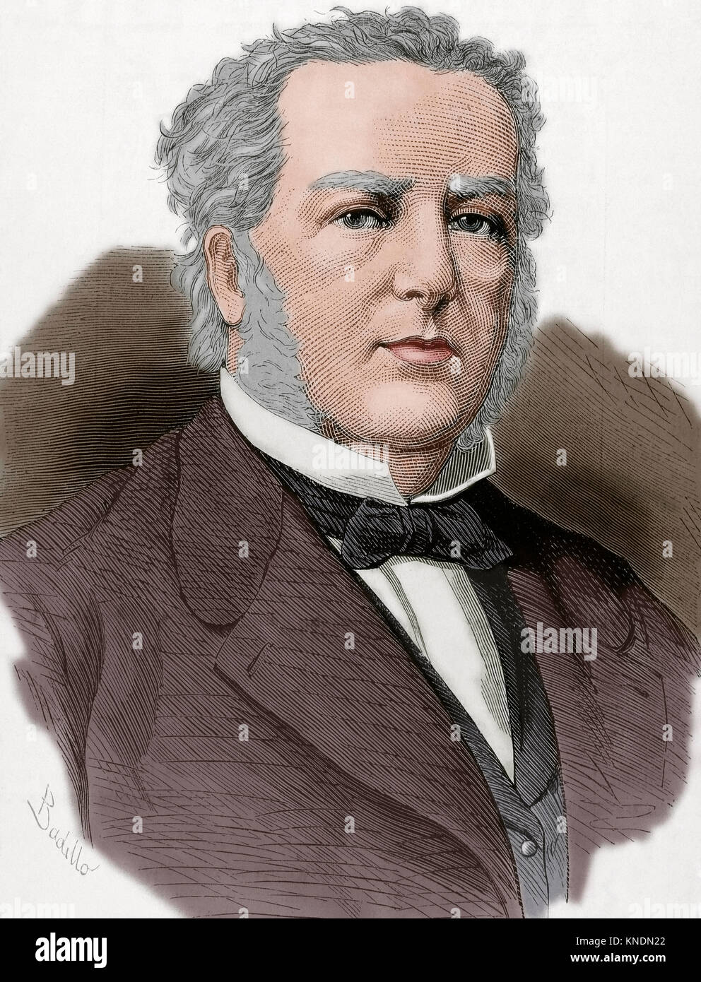 Casimir Pierre Perier (1777-1832). French banker, mine owner, political leader and statesman. Portrait. Engraving. - Stock Image