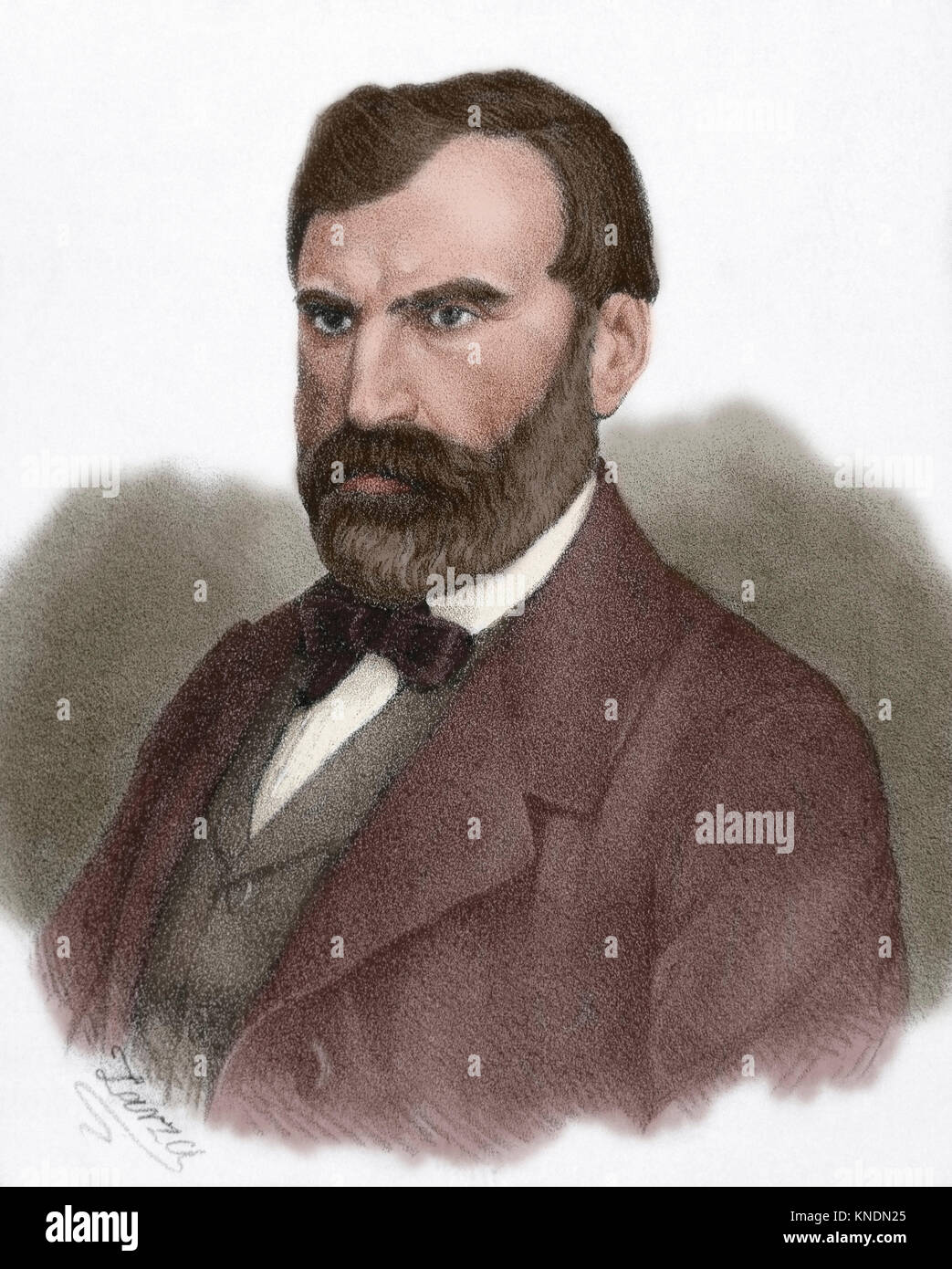 Eugene Pelletan (1813-1884). French writer, journalist and politician. Portrait. Engraving by Eusebio Zarza (1842 - Stock Image