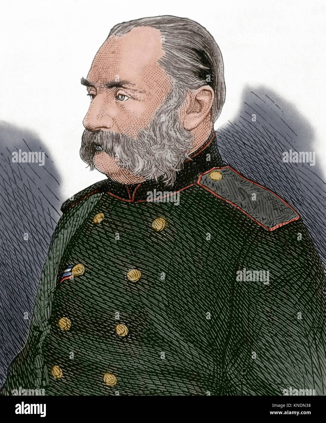 The War in the East. General Perokoitschitzsky of the Russian Army, Chief of Staff of the Southern Army. Portrait. - Stock Image