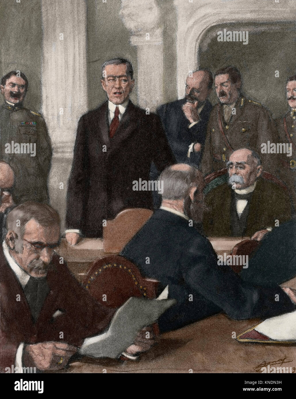 France. Paris Peace Conference, 1919. The President of United States, Thomas Woodrow Wilson (1856-1924) presenting - Stock Image