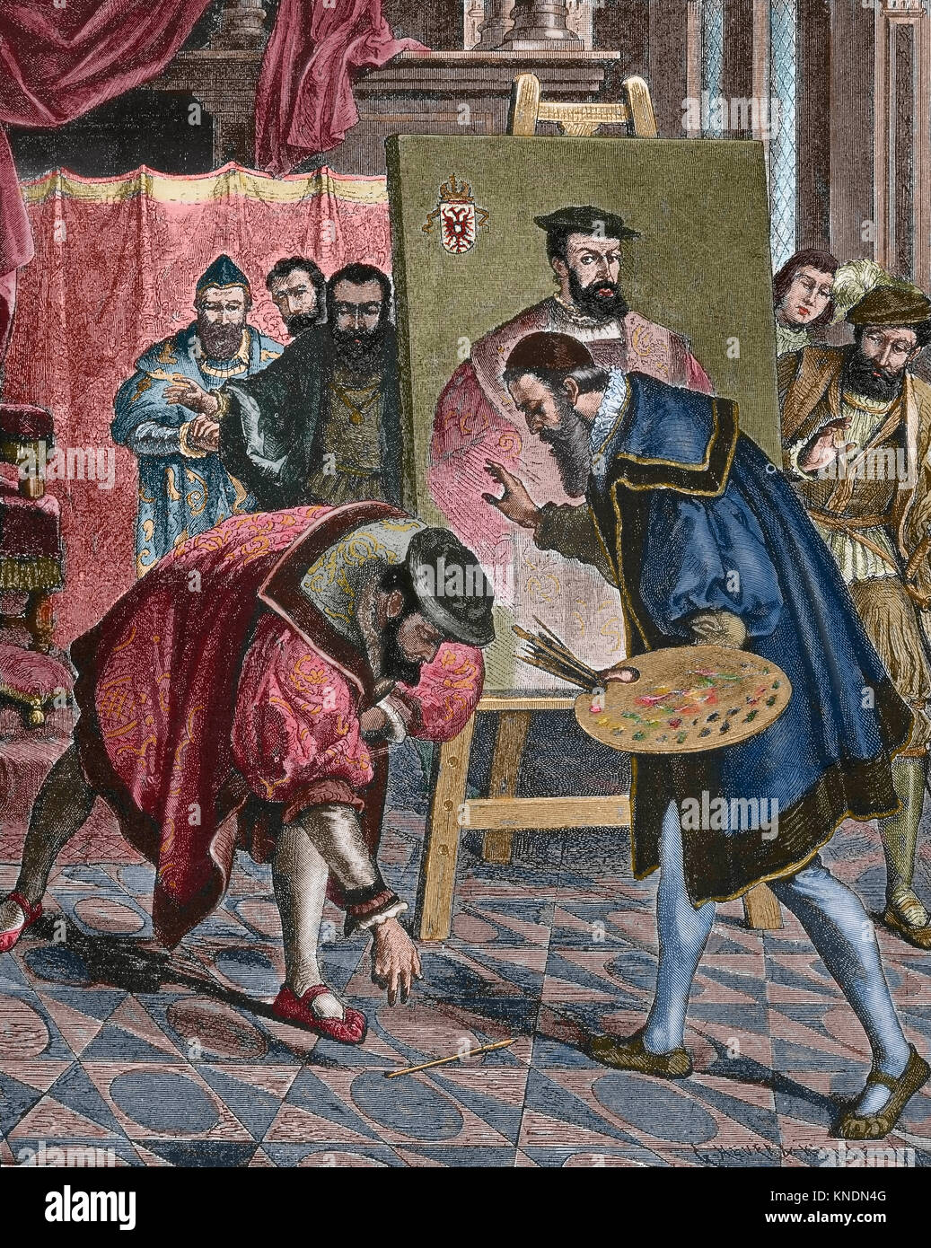 Charles V (1500-1558), King of Spain (1517-1556) and Holy Roman Emperor  (1519-1556), picks up the brush from Titian - Stock Image