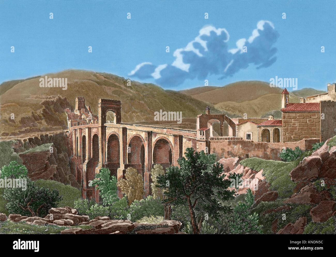 Spain. Extremadura. The Alcantara Bridge, also known as Trajan's Bridge at Alcantara. Roman stone arch bridge - Stock Image