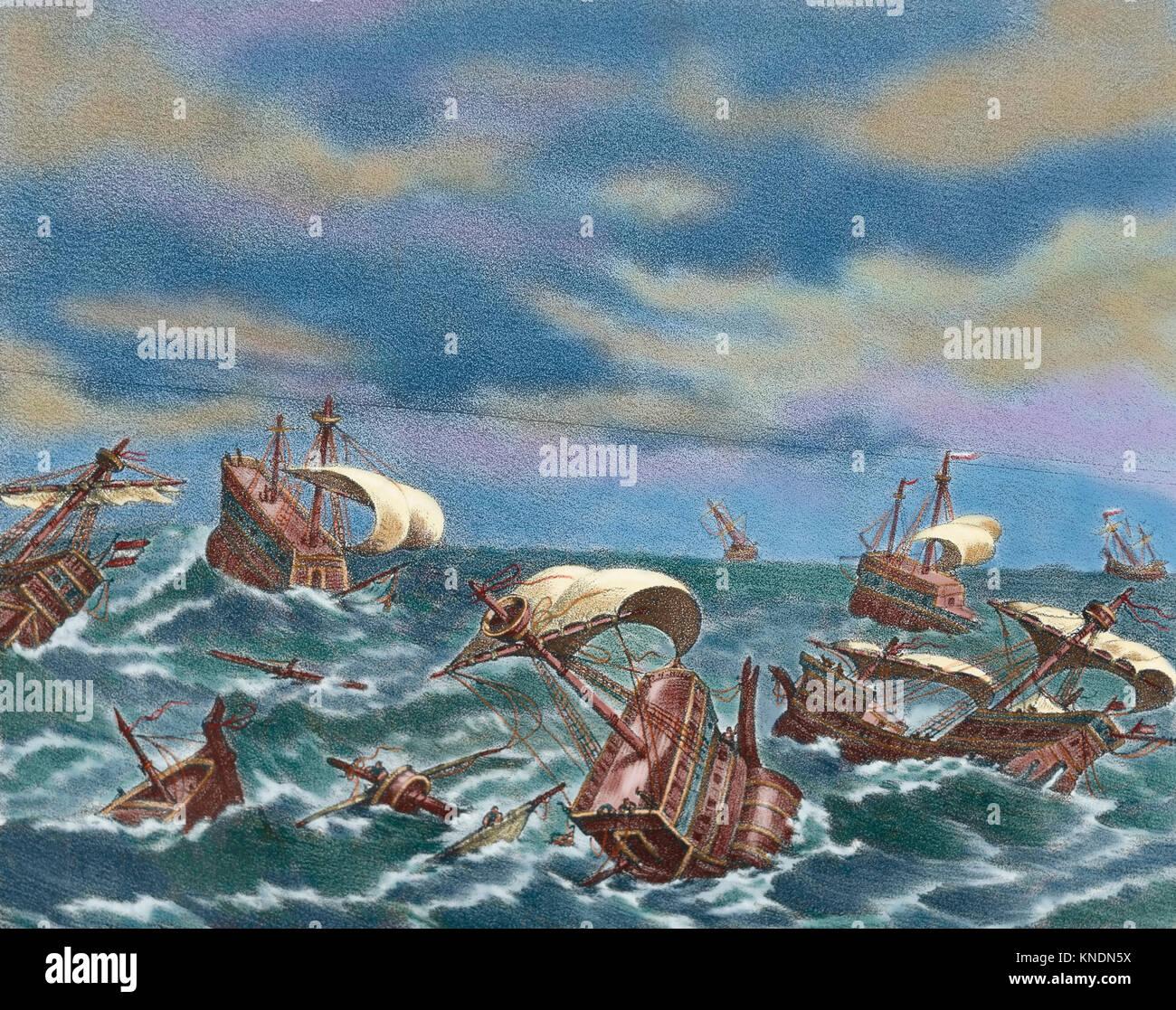 Spanish Armada. Spanish fleet sent by Spanish king Philip II (1527-1598) against England in 1588, under the command - Stock Image