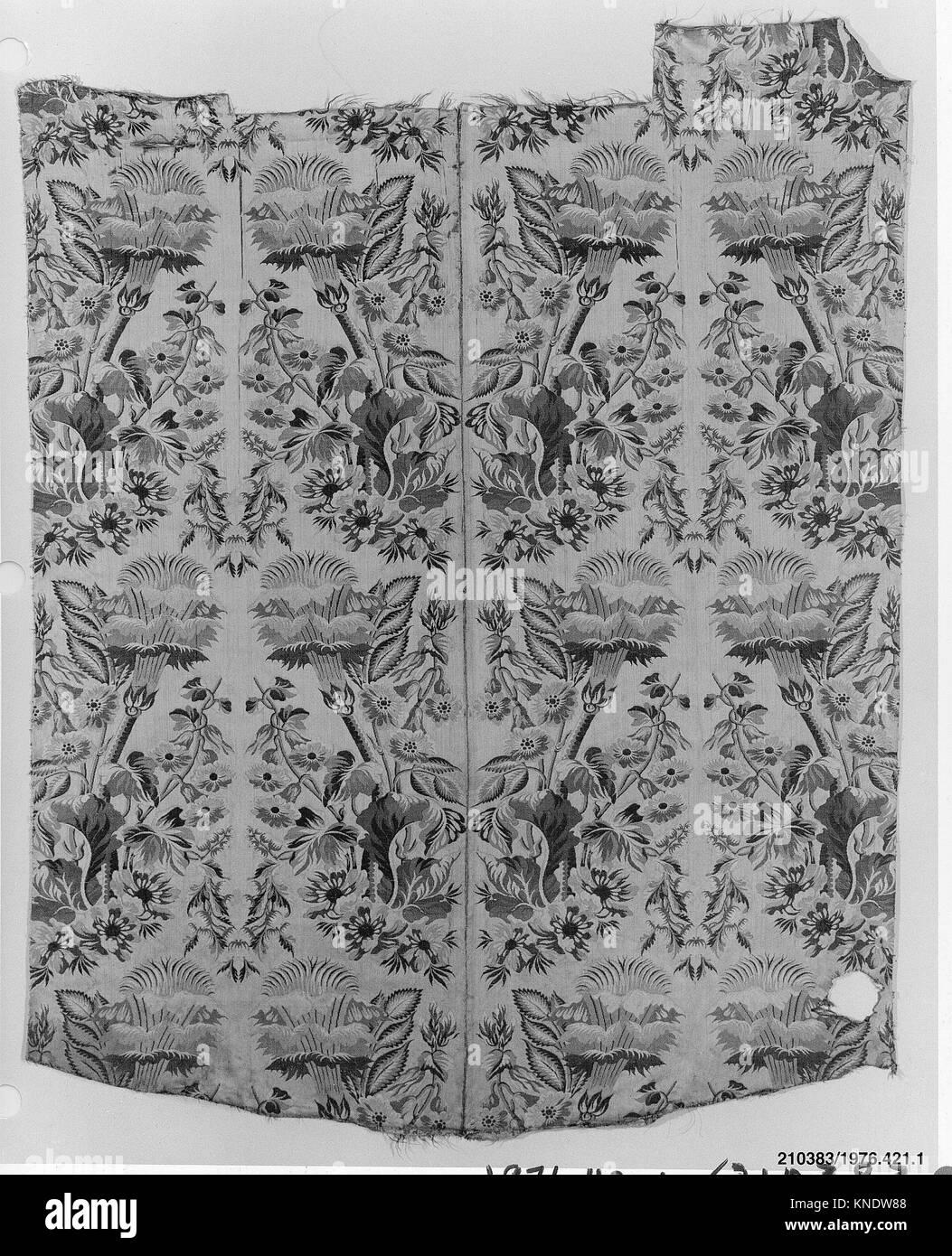 Panel. Date: 18th century; Culture: Italian; Medium: Silk; Dimensions: L. 46 1/2 (irreg.) x W. 38 1/2 inches; Classification: - Stock Image