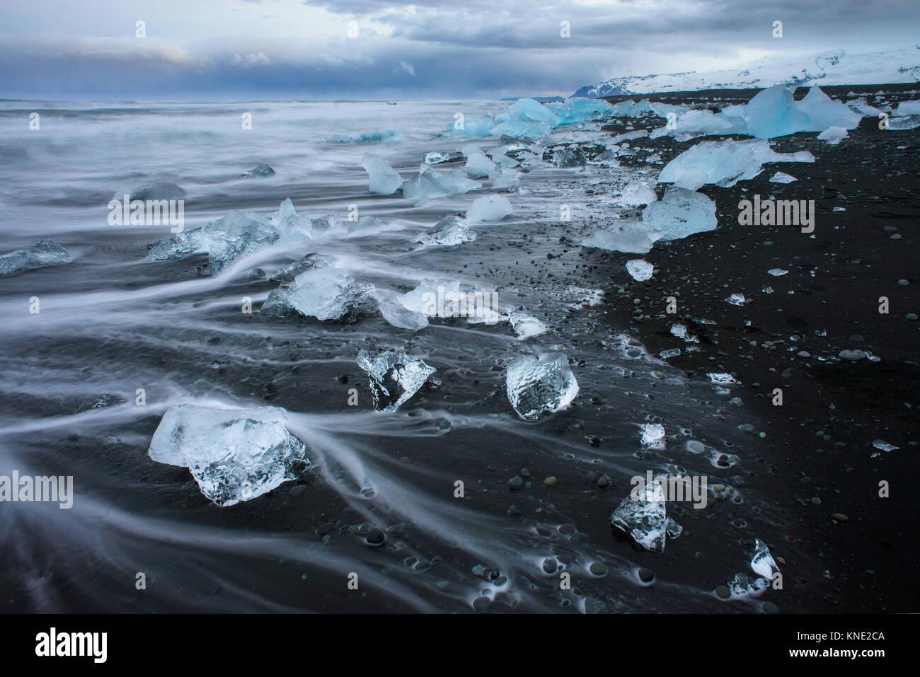 Jokulsarlon beach in Iceland - Stock Image