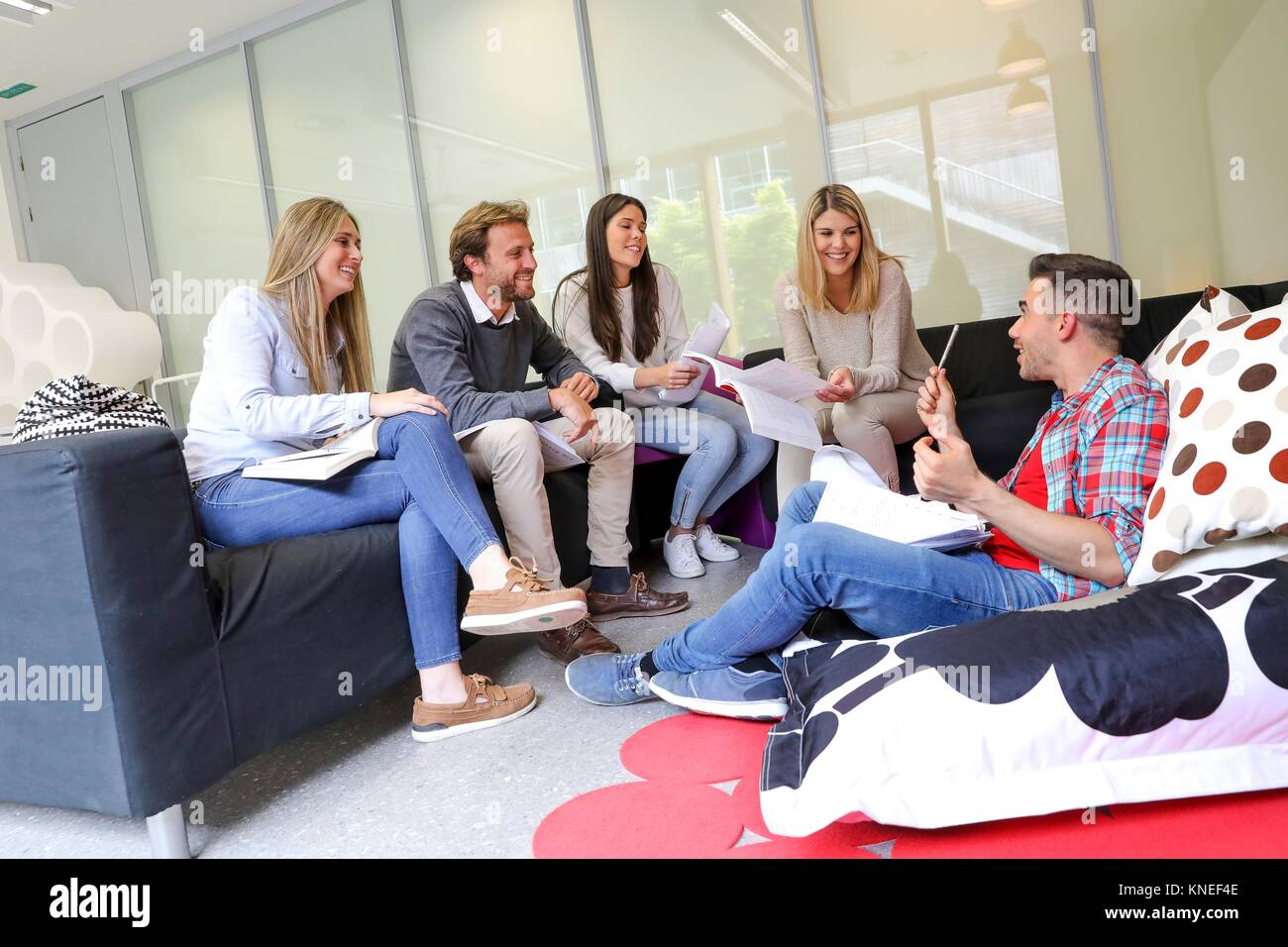 Group of students, Rest area, University, Donostia, San Sebastian, Basque Country, Spain - Stock Image