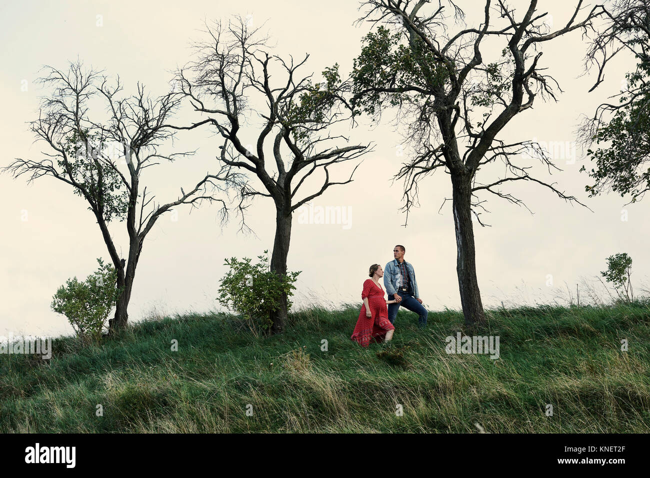 Pregnant couple hand in hand on hillside - Stock Image