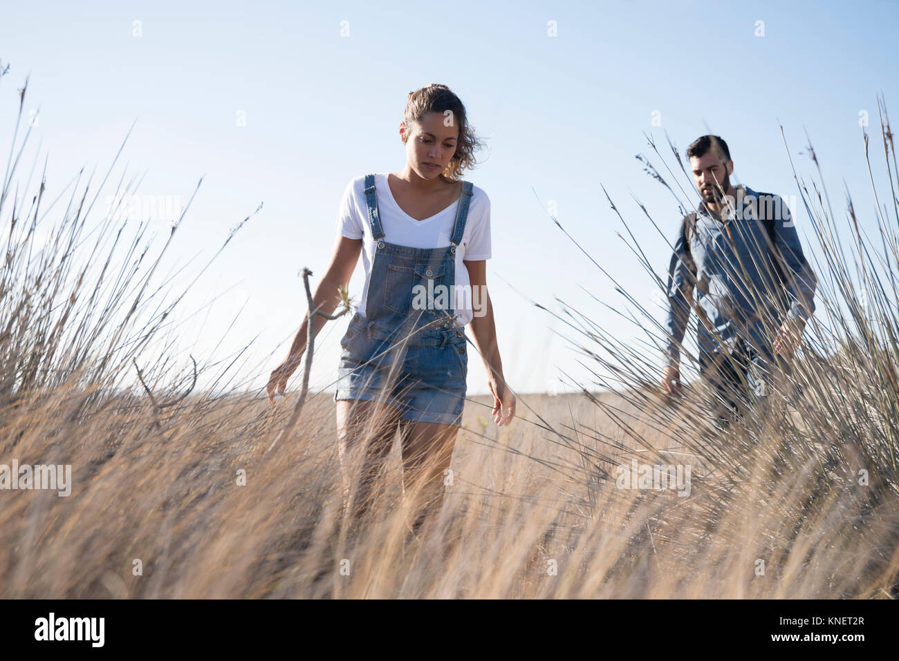 Young hiking couple hiking through long grass, Las Palmas, Canary Islands, Spain - Stock Image