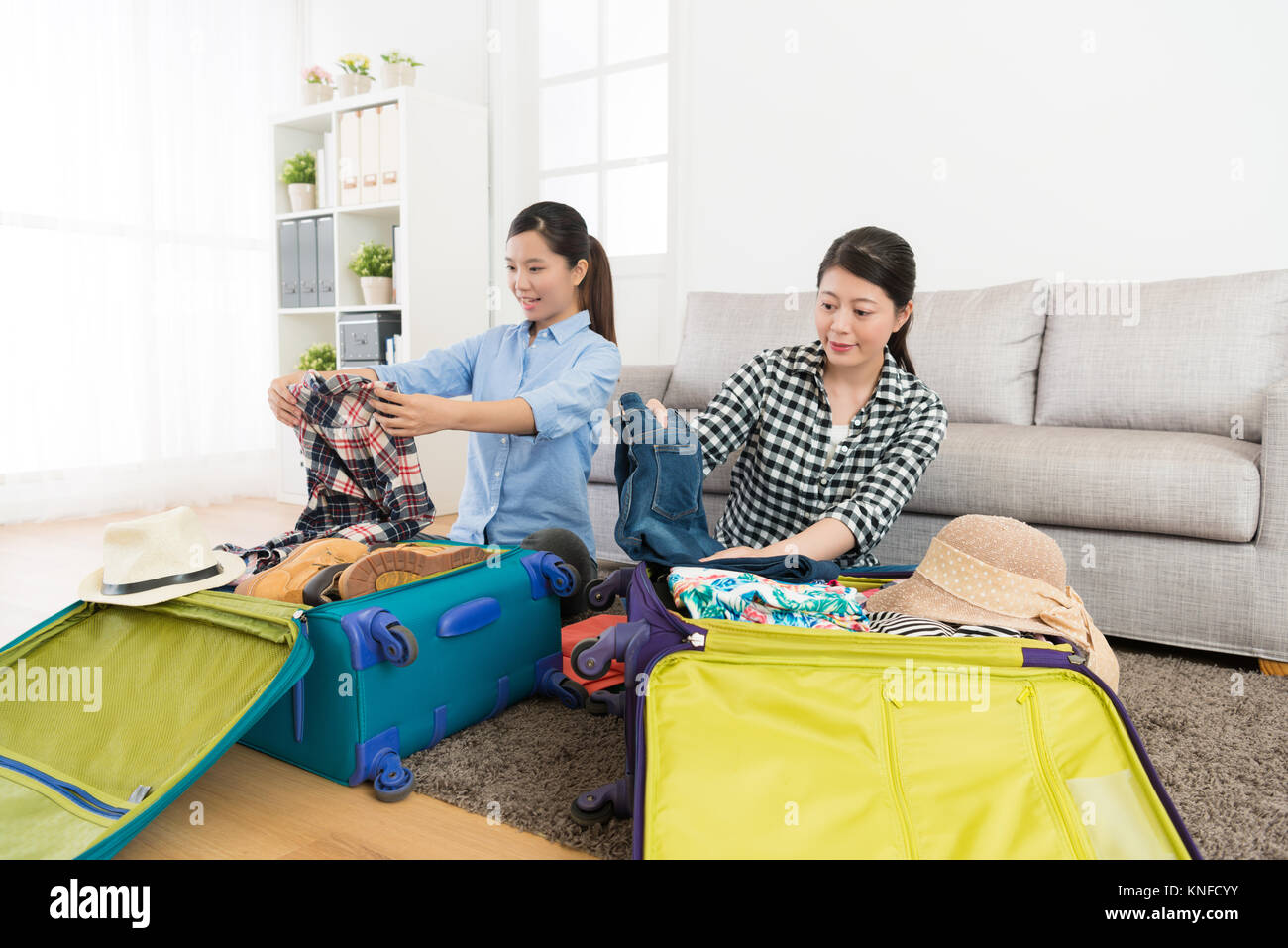 Woman Suitcases Living Room