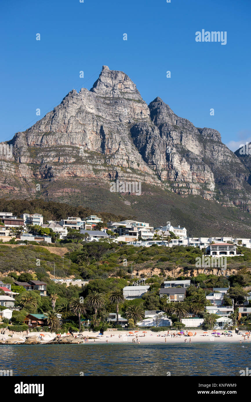 The city of Cape Town in South Africa stretching out beneath Table Mountain - Stock Image