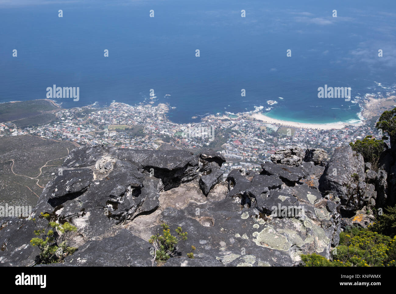 View from the top of Table Mountain looking down towards the city of Cape Town, South Africa - Stock Image