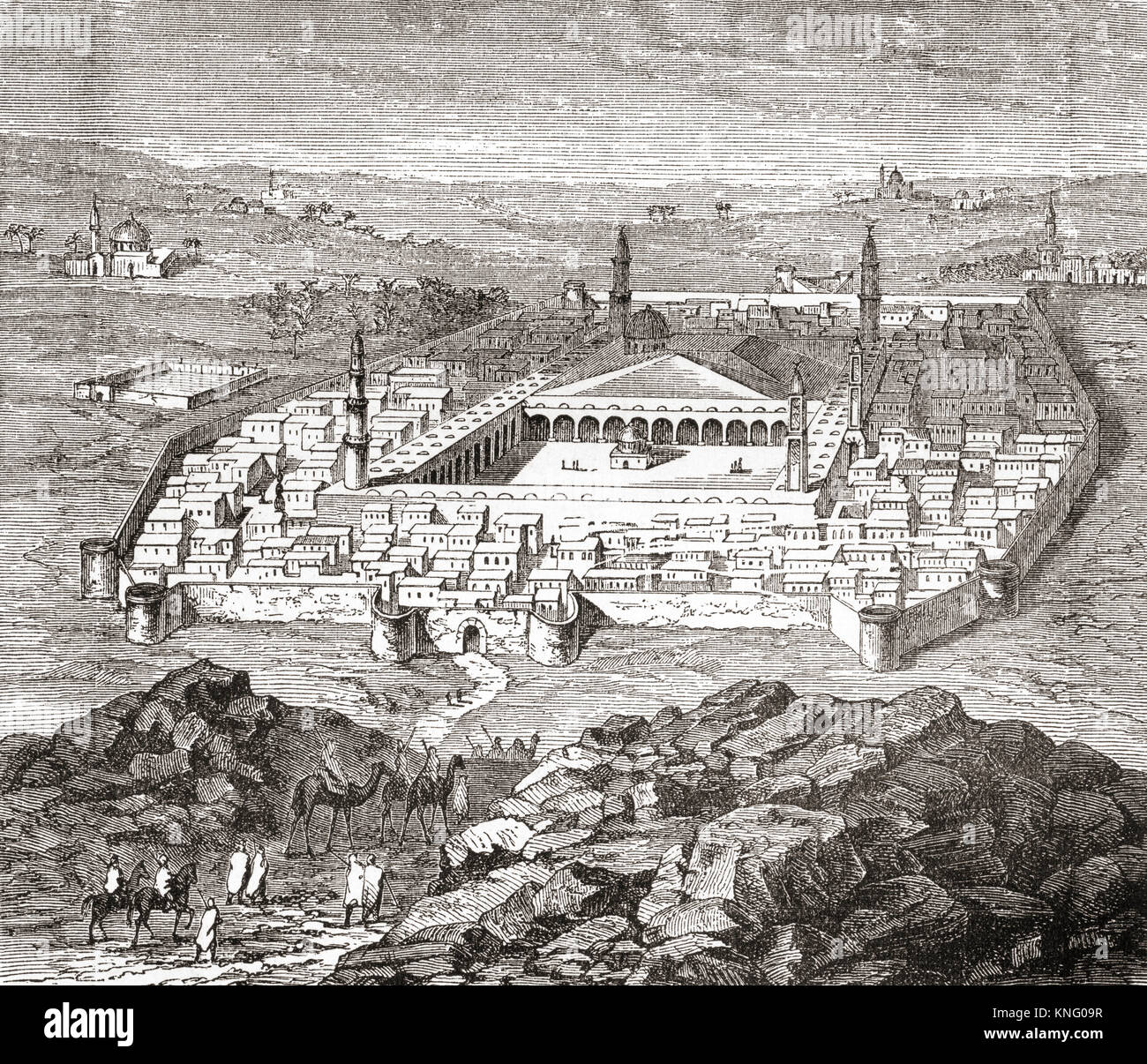 Medina, Saudi Arabia, in the late 18th century.   From Ward and Lock's Illustrated History of the World, published - Stock Image