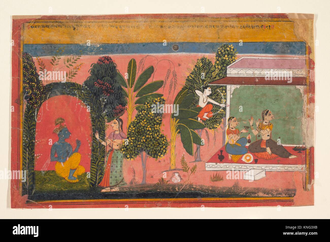 Kama Aims His Bow at Radha: Page From a Dispersed Gita Govinda (Loves of Krishna). Date: ca. 1695; Culture: India - Stock Image