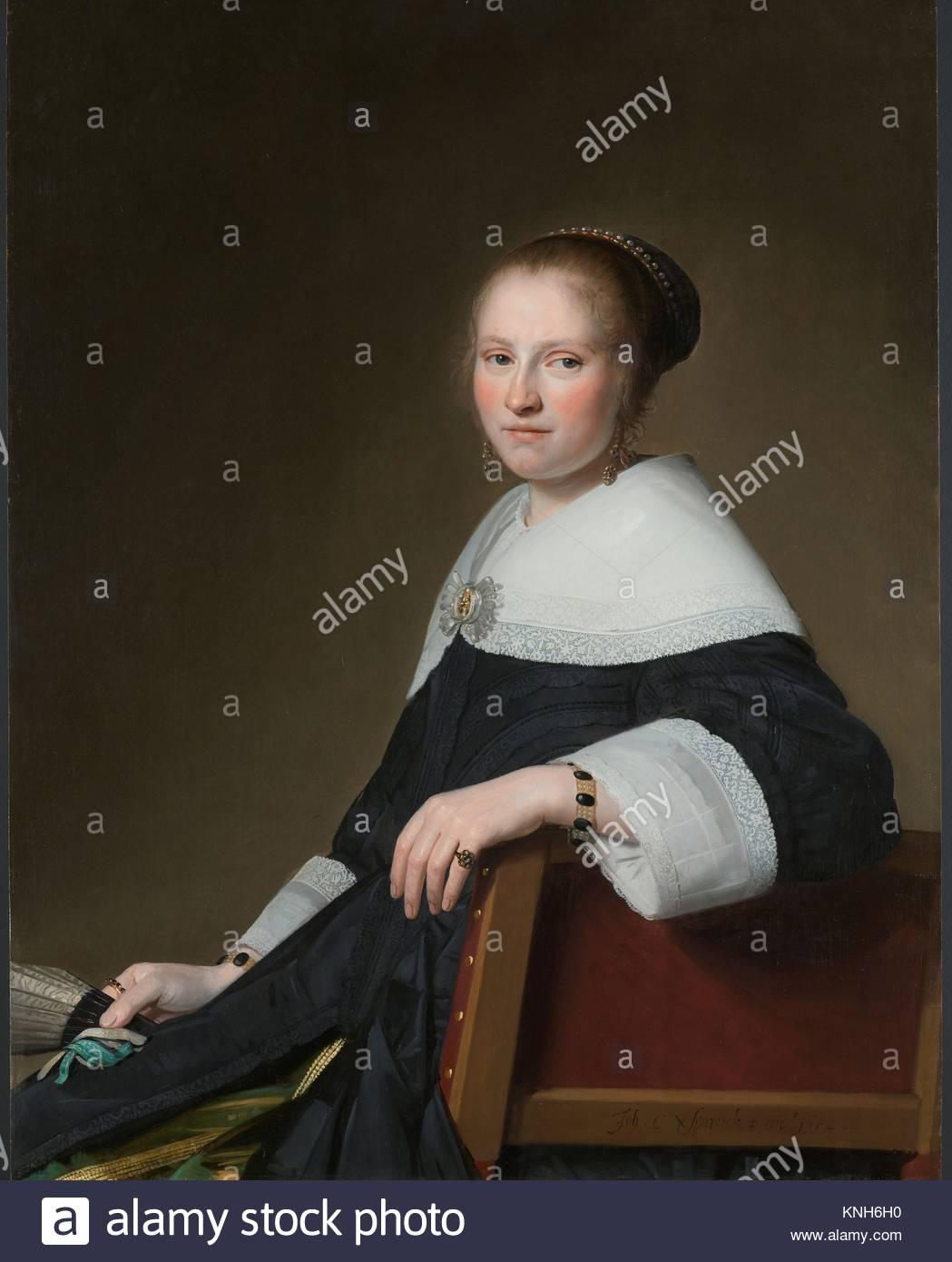 Portrait of Maria van Strijp,  Johannes Cornelisz. Verspronck, 1652 - Stock Image