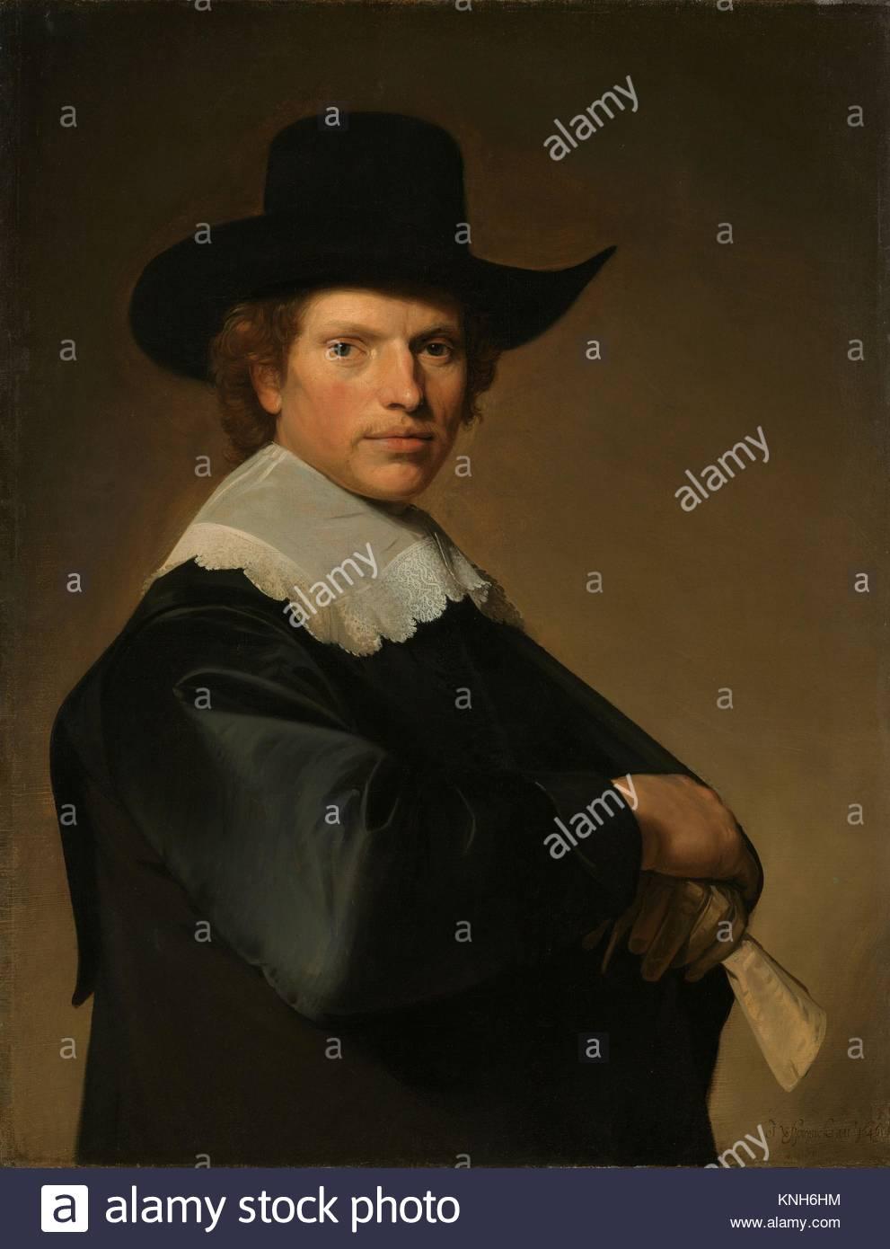 Portrait of a man  Johannes Cornelisz. Verspronck, 1646 - Stock Image