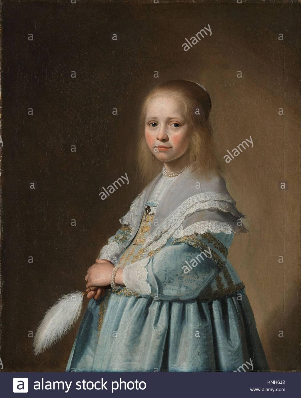 Portrait of a Girl Dressed in Blue  Johannes Cornelisz. Verspronck, 1641 - Stock Image