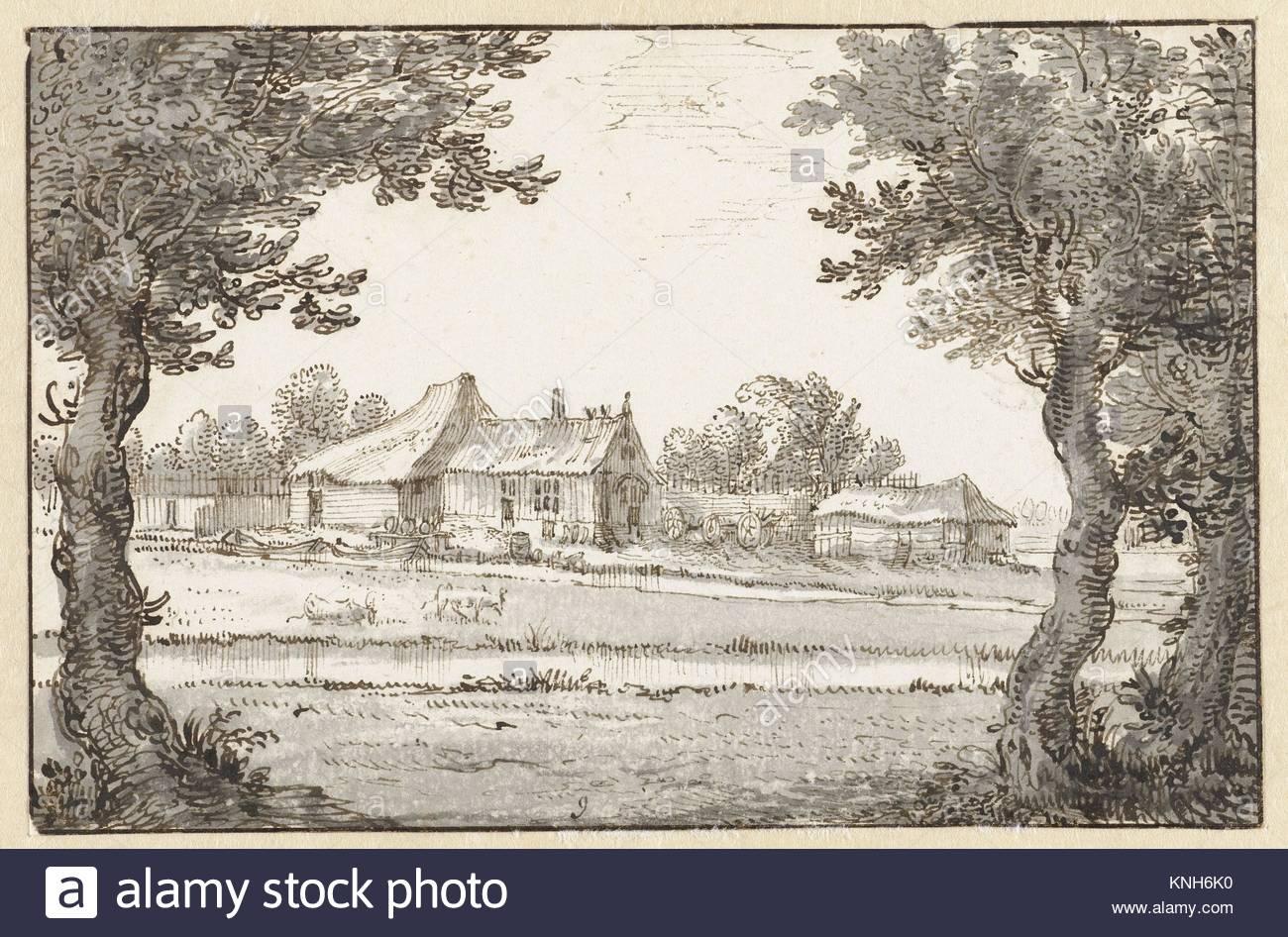 View of a farm  Claes Jansz. Visscher (II), 1596 - 1652 - Stock Image