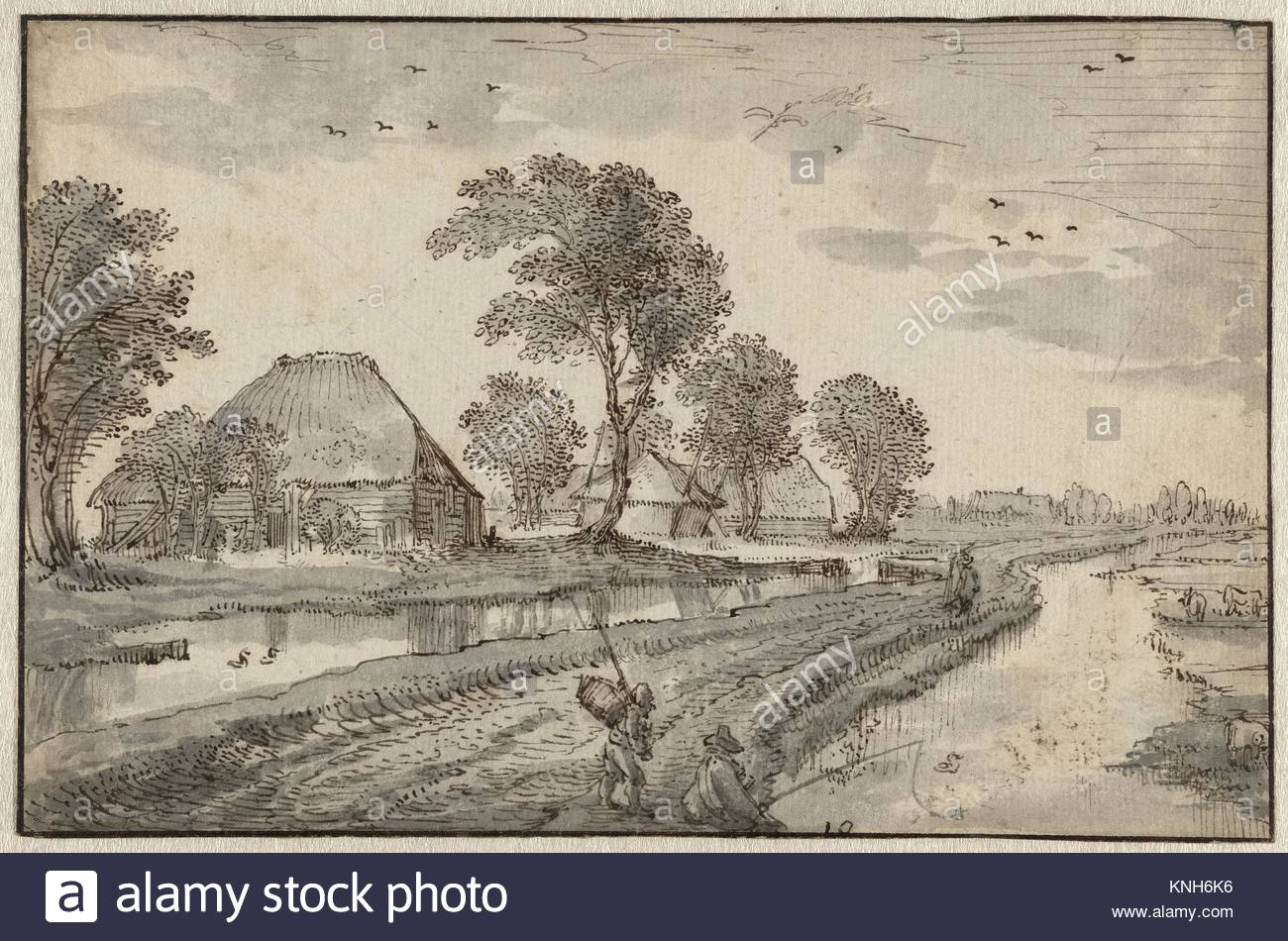 Road between ditches in a polder with farms and trees, Claes Jansz. Visscher (II), ca. 1615 - ca. 1620 - Stock Image