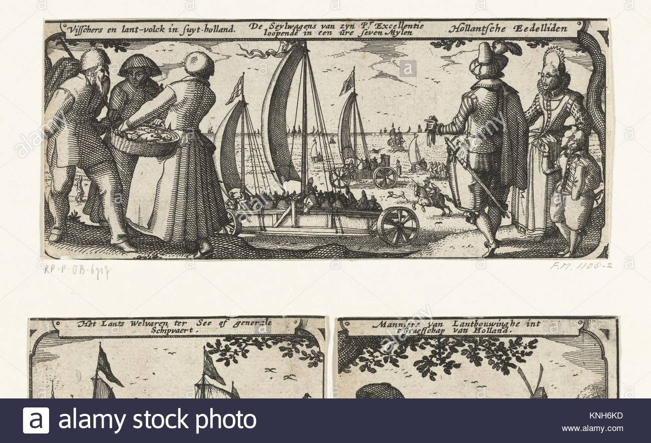 Fishermen and farmers, the sailing vehicle and nobles in Holland  Claes Jansz. Visscher (II), 1608 - 1610 - Stock Image