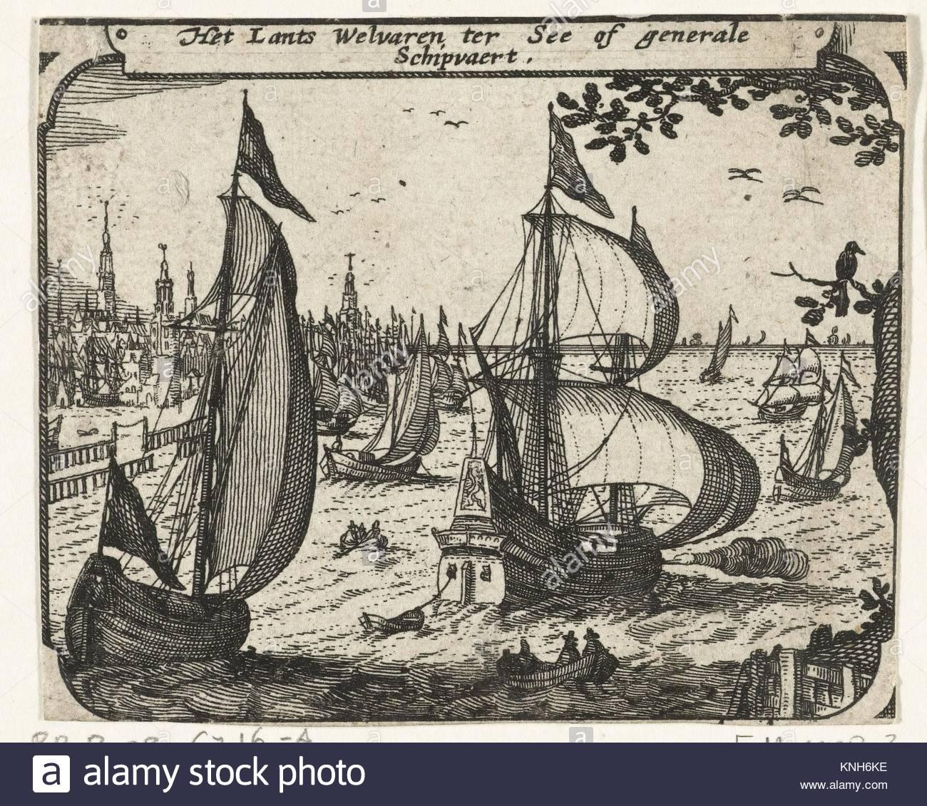 The merchant navy  ca. 1600  Claes Jansz. Visscher (II), 1608 - 1610 - Stock Image
