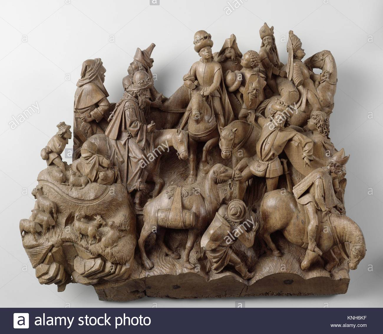 The Meeting of the Magi, Adriaen van Wesel, c. 1475 - c. 1477 - Stock Image