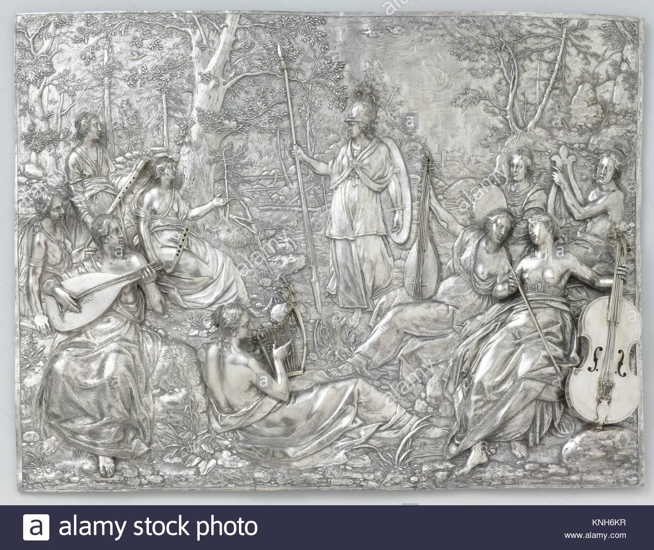 Minerva and the Muses, Paulus Willemsz. van Vianen, 1604 - Stock Image