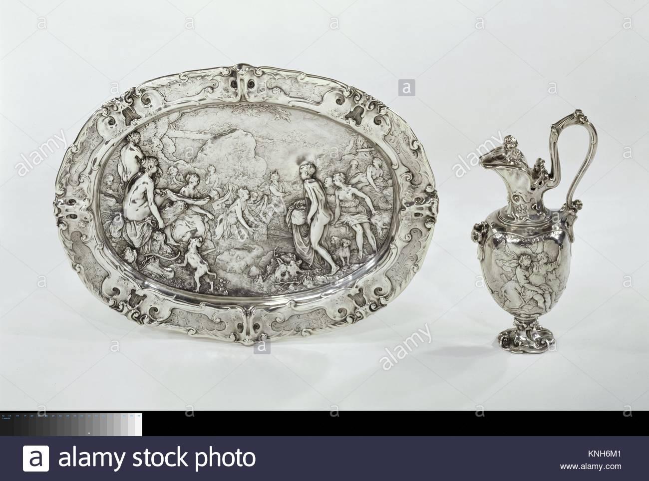 Ewer with scenes from the story of Diana and Callisto, Paulus Willemsz. van Vianen, 1613 Rijksmuseum, Netherlands. - Stock Image
