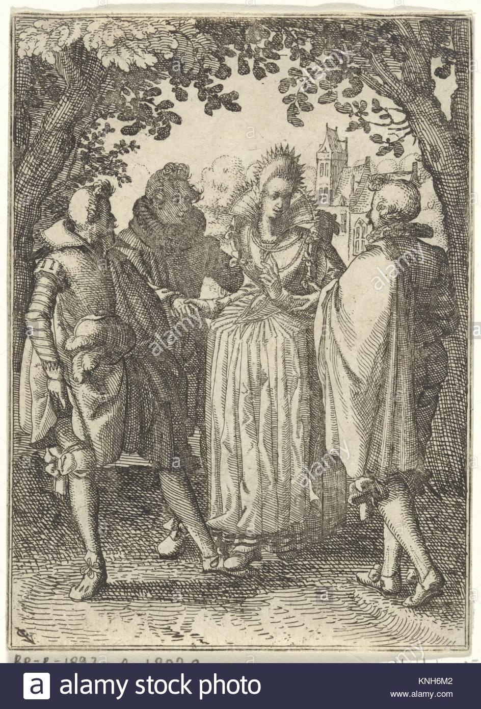 Woman and three men  Claes Jansz. Visscher (II), 1608 - 1610 - Stock Image