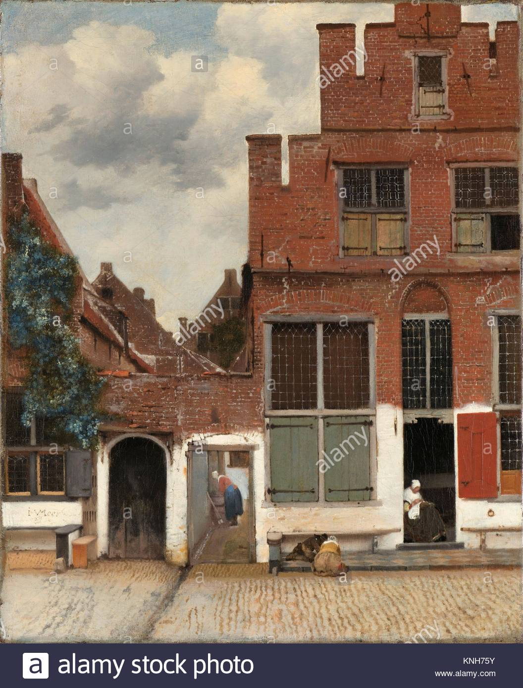 View of Houses in Delft, Known as The Little Street, Johannes Vermeer, c. 1658 Rijksmuseum, Netherlands, - Stock Image