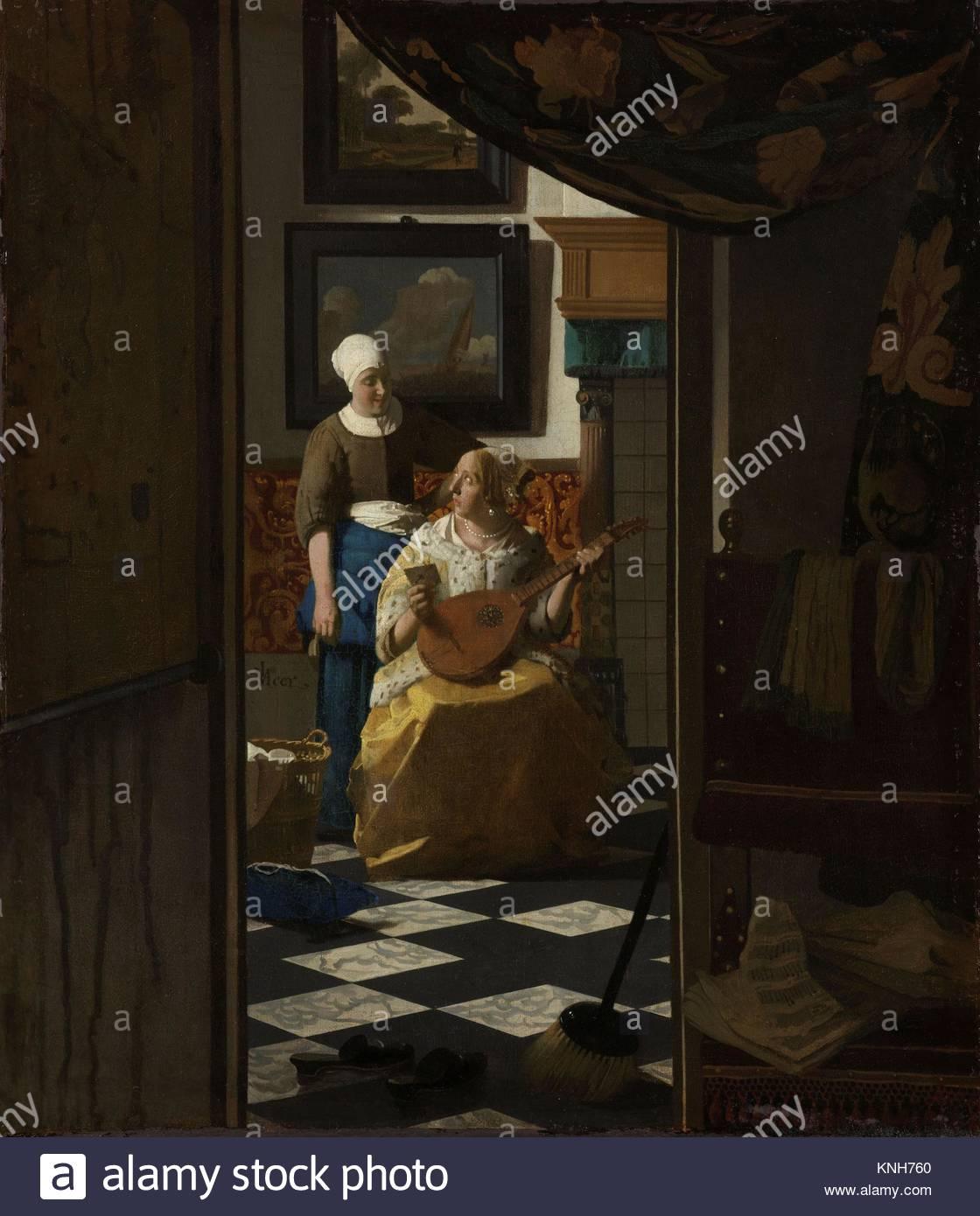 The Love Letter Johannes Vermeer, c. 1669 - c. 1670 Rijksmuseum, Netherlands, - Stock Image