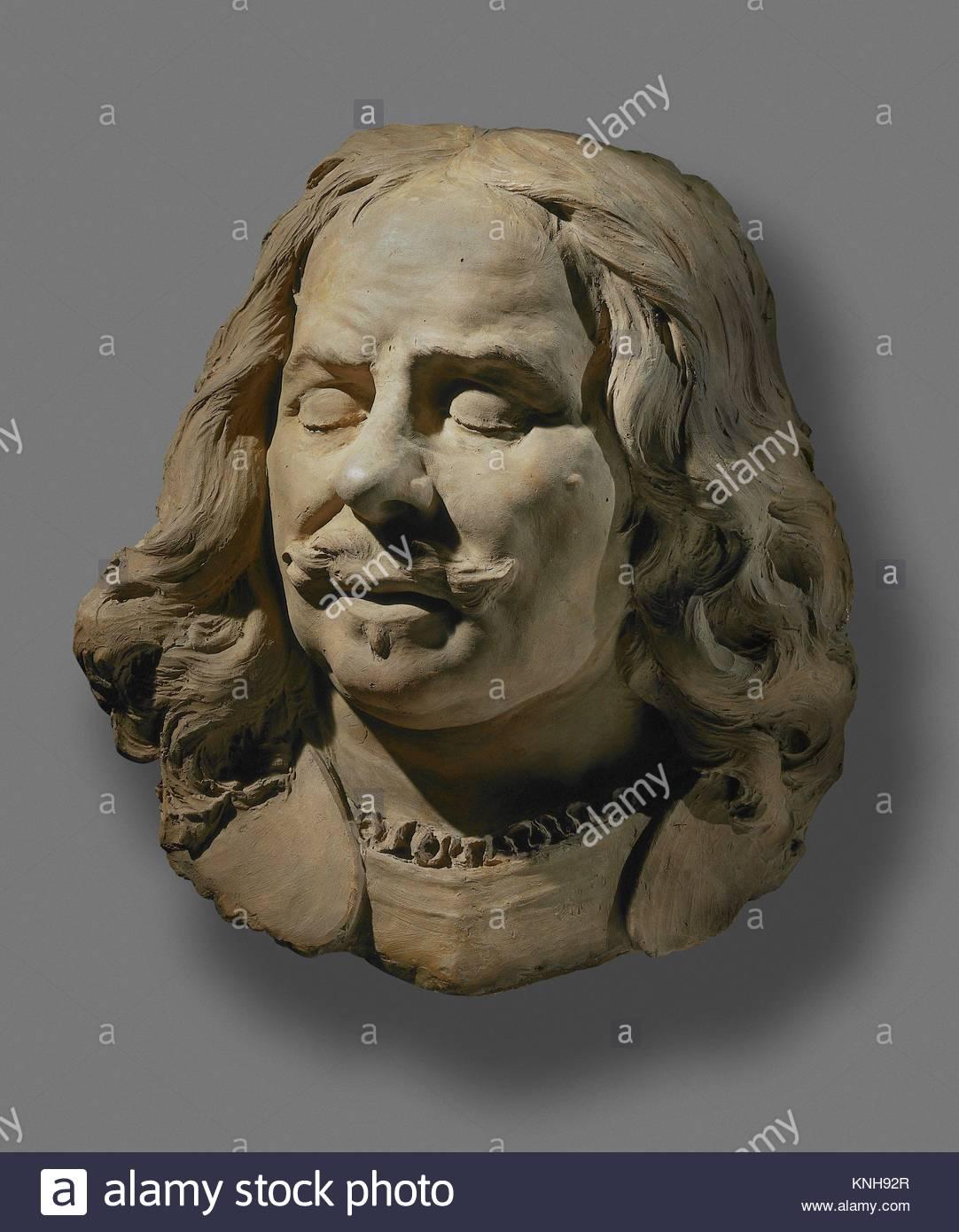 Clay terracota bust Portrait of Michiel de Ruyter, sculptor Rombout Verhulst, 1677 - 1681, Rijksmuseum, Netherlands - Stock Image
