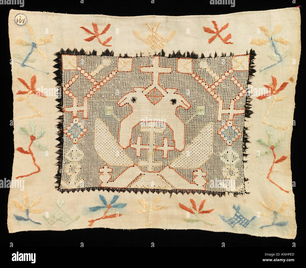 Towel border. Date: 1780-1820; Culture: Russian; Medium: Linen, silk; Dimensions: 15 x 11 1/2 in. (38.1 x 29.2 cm); - Stock Image