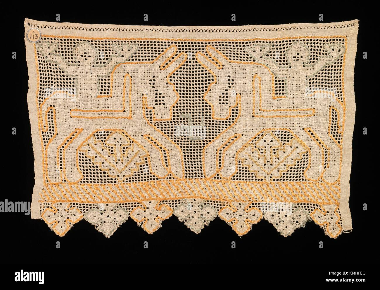 Towel border. Date: early 19th century; Culture: Russian; Medium: Linen, silk; Dimensions: 15 x 9 1/2 in. (38.1 - Stock Image