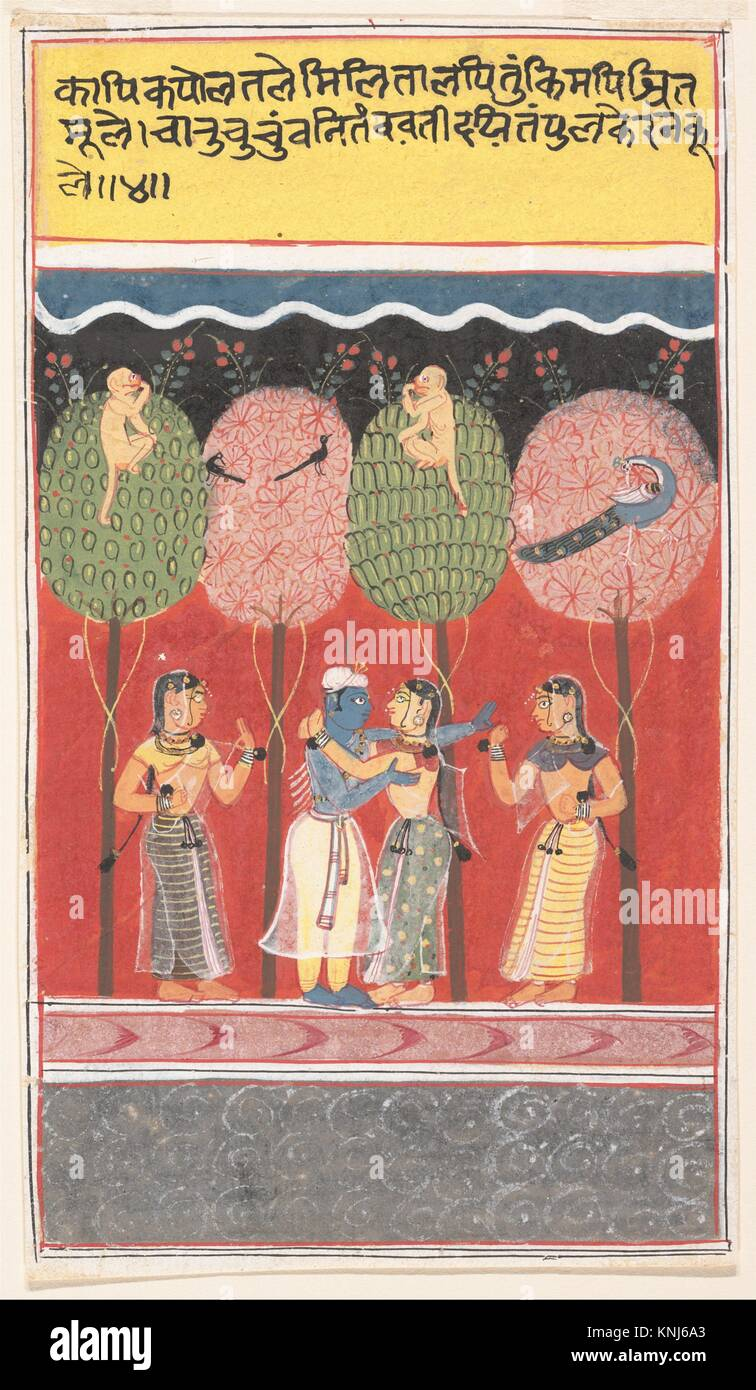 Krishna Revels with the Gopis: Page from a Dispersed Gita Govinda (Song of the Cowherds). Date: ca. 1630-40; Culture: - Stock Image