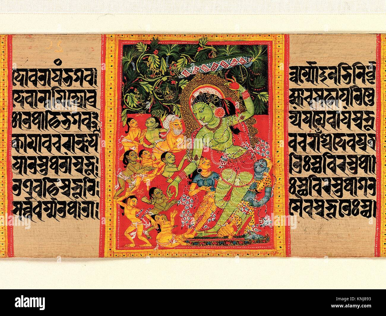 Green Tara Dispensing Boons to Ecstatic Devotees: Folio from a Manuscript of the Ashtasahasrika Prajnaparamita (Perfection - Stock Image