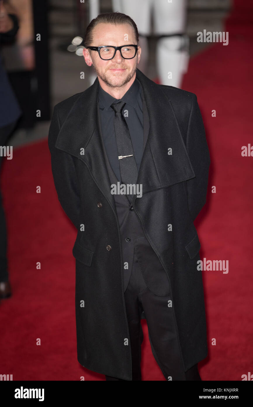 Royal Albert Hall, London, UK. 12th Dec, 2017. Simon Pegg arrives for the European Premiere of Star Wars - The Last - Stock Image