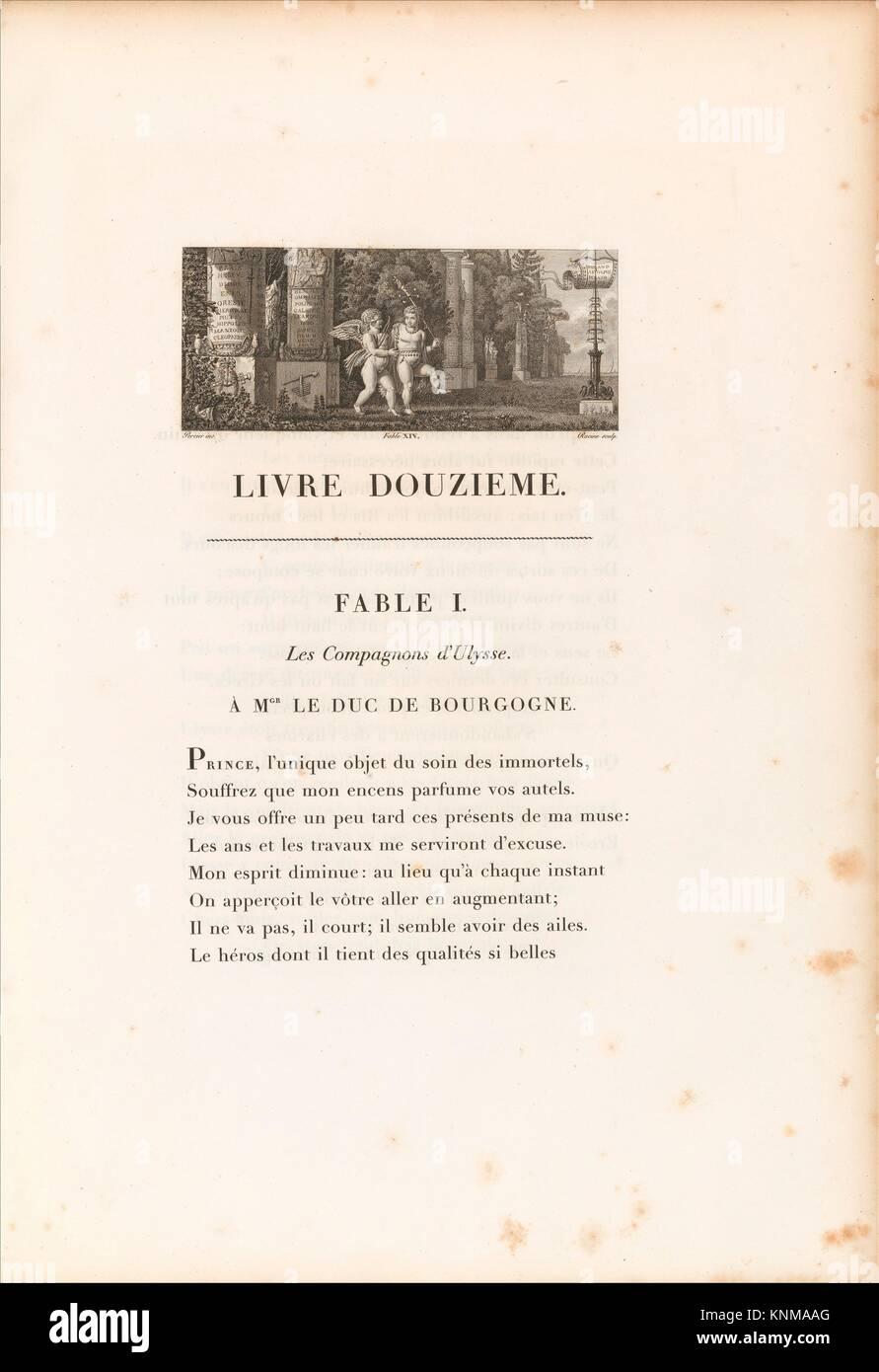 Fables. Author: Written by Jean de La Fontaine (French, Château-Thierry 1621-1695 Paris); Illustrator: Charles - Stock Image