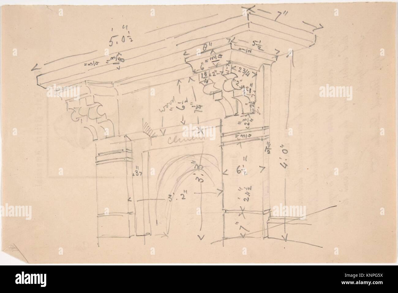 Measured Drawing of Cornice. Artist: Anonymous, British, 19th century; Date: 19th century; Medium: Graphite; Classifications: - Stock Image