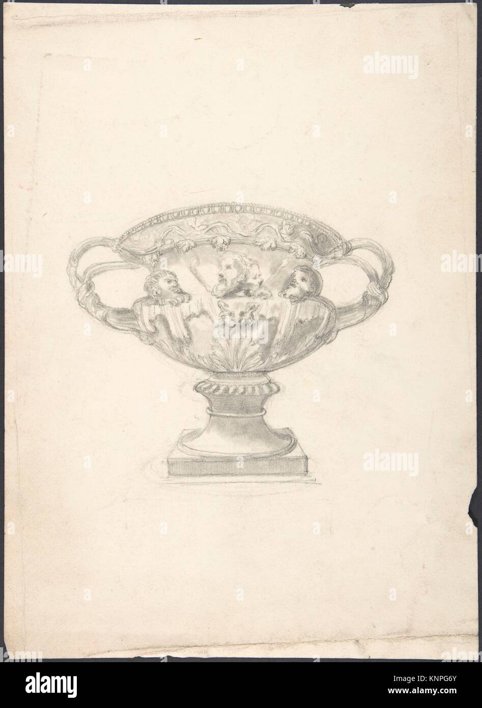 Vase. Artist: Anonymous, British, 19th century; Date: 19th century; Medium: Ink and watercolor; Classifications: - Stock Image