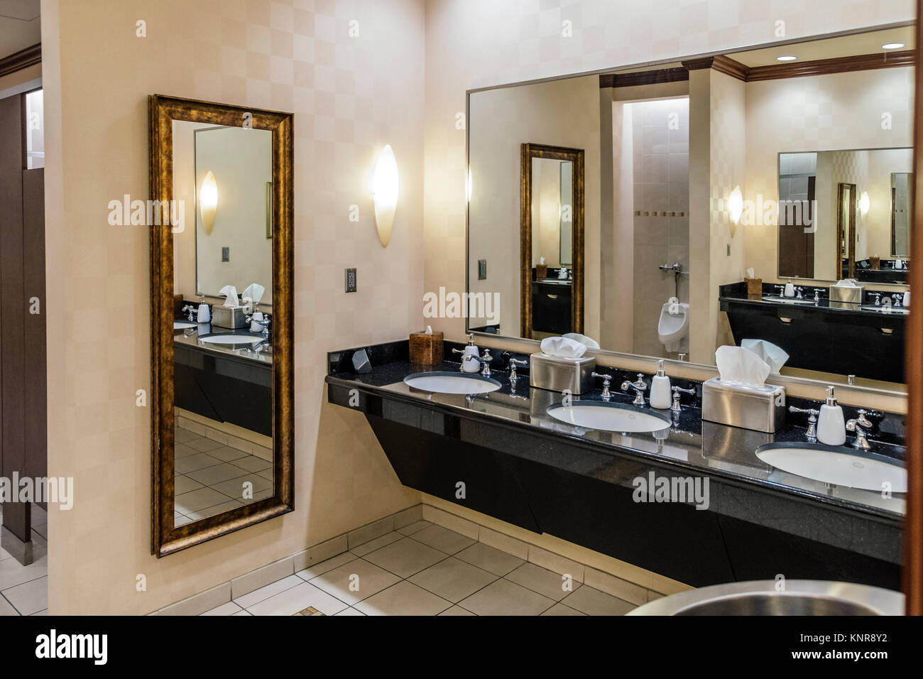 Interior of public men's bathroom or toilet in a luxury hotel, the Renaissance Hotel and Spa in Montgomery, - Stock Image