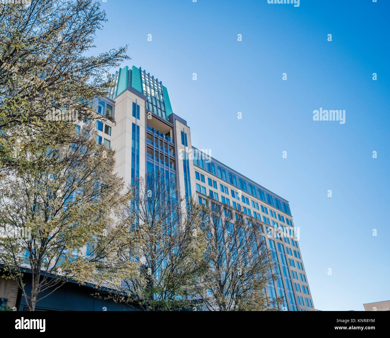 Renaissance Hotel exterior low angle view in urban downtown Montgomery Alabama, USA.  Example of a high-rise city - Stock Image