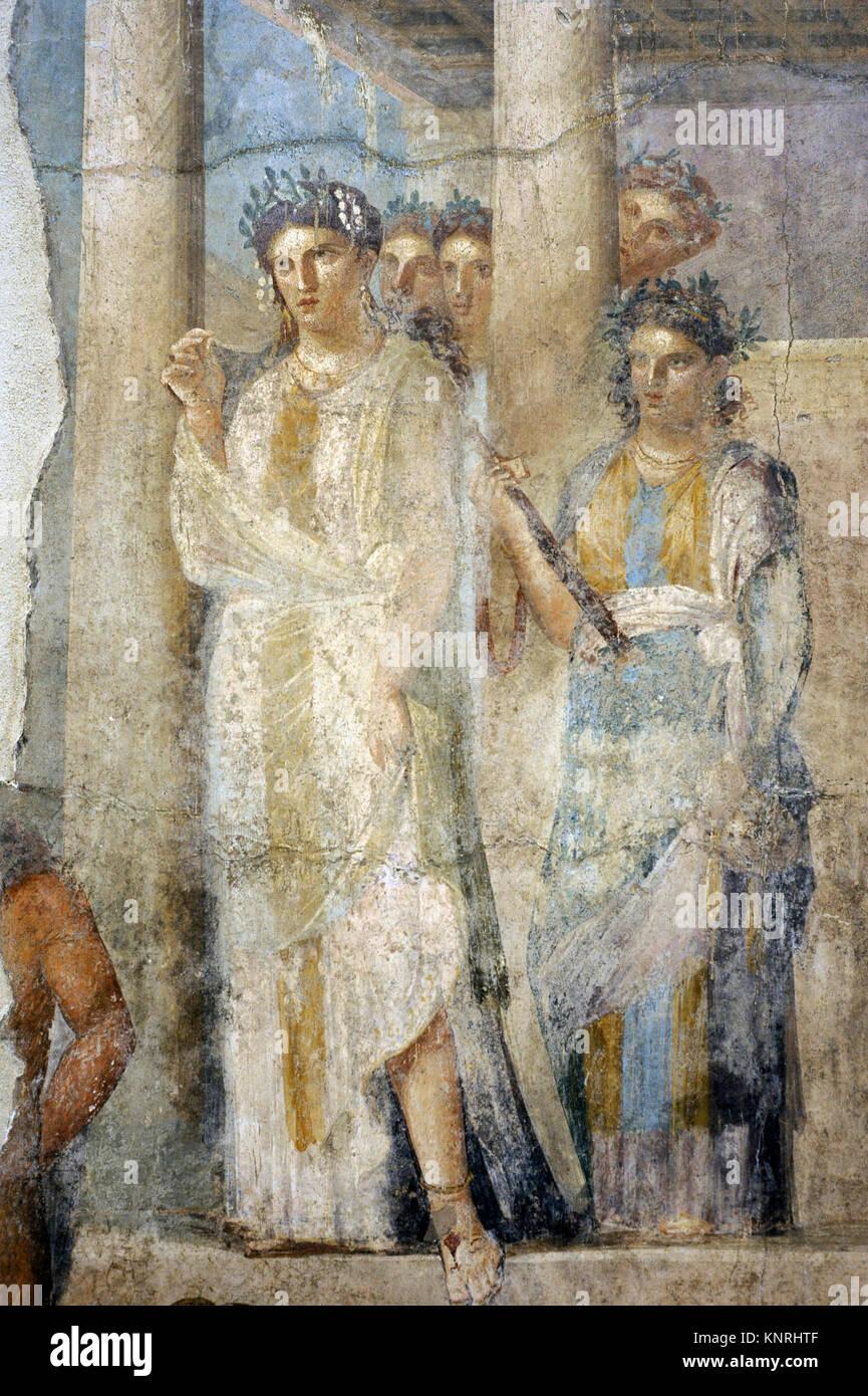 Roman fresco depicting Iphigenia in Tauris. Detail. 1-50 AD. Tablinium. House of Lucius Caecilius Lucundus. Pompeii, - Stock Image