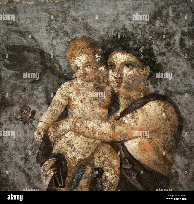 Maenad and Eros. Roman fresco. 1st century AD. Tablinium. House of Lucius Caecilius Lucundus. Pompeii. National - Stock Image