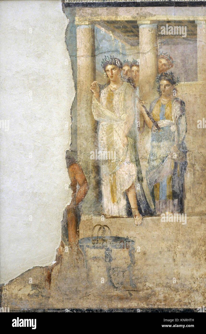 Roman fresco depicting Iphigenia in Tauris. 1-50 AD. Tablinium. House of Lucius Caecilius Lucundus. Pompeii, Italy. - Stock Image
