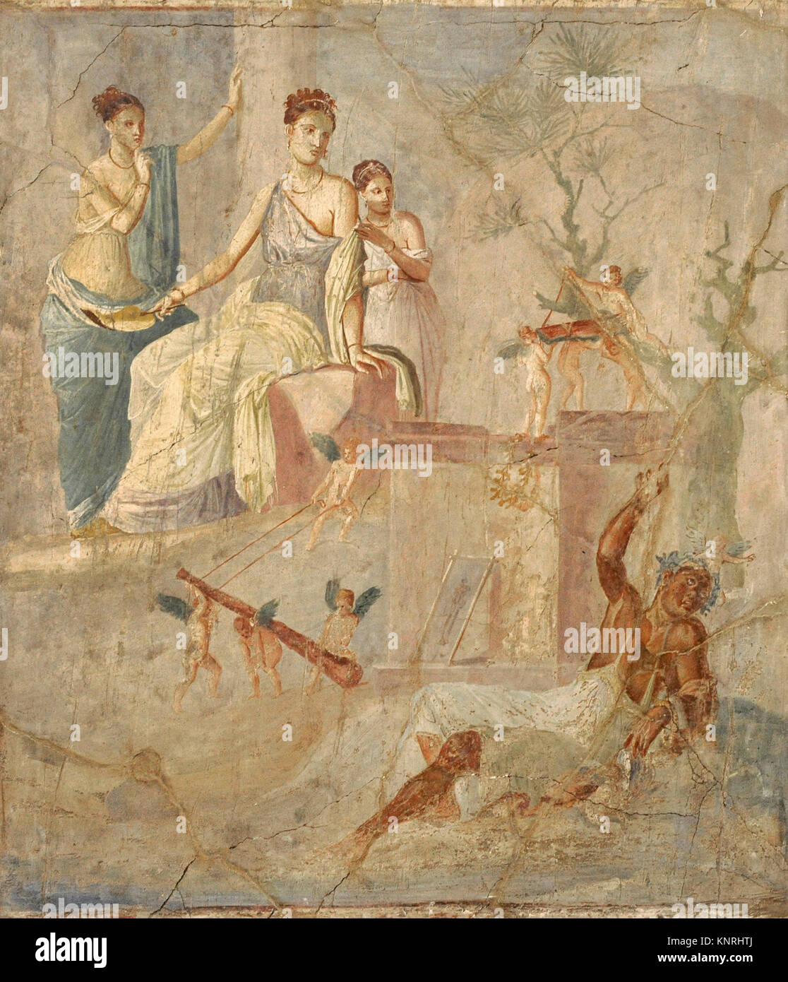 Roman fresco depicting Heracle and Omphale. 1-79 AD. Third Pompeian Style. Pompeii. National Archaeological Museum. - Stock Image